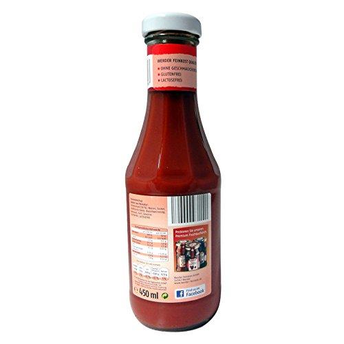 5 Flaschen Werder Tomaten Ketchup à 450 ml ohne Konservierungsstoffe, glutenfrei und lactosefrei Tomatenketchup Tomatensoße