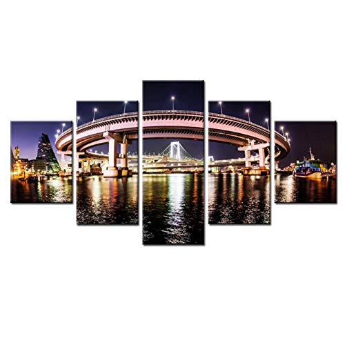 WOKCL Canvas Schilderij Home Decor HD Schilderijen Op Doek Muur Modulair 5 Paneel De Regenboog Brug Bij Nacht Foto's Vintage Voor Woonkamer, Geen Frame