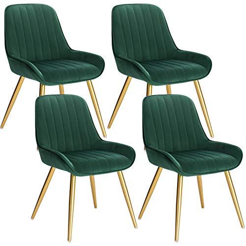 Lestarain 4X Sillas de Comedor Dining Chairs Sillas Tapizadas Paquete de 4 Sillas Cocina Nórdicas Terciopelo Sillas Bar Metal Silla de Oficina Verde Oscuro