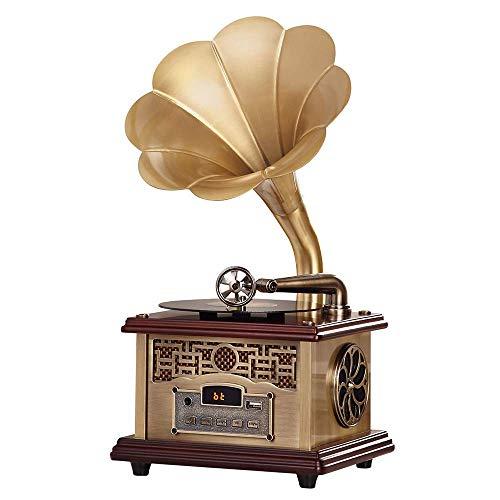 IW.HLMF Tocadiscos clásico, Tocadiscos Retro, fonógrafo Retro con Altavoces inalámbricos, decoración de la Oficina en casa, Bronce Azul