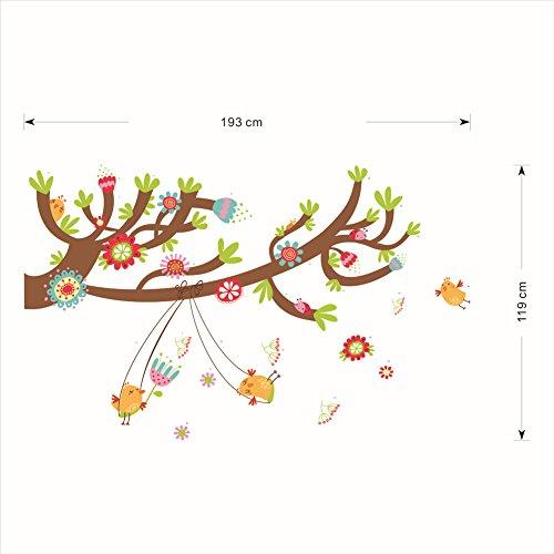 Decoratieve papieren wandschilderijen kinderkamer grote boomschommel schommel