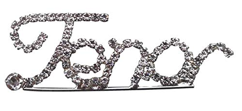 Tenor Barbershop script stijl diamante kristal pin broche