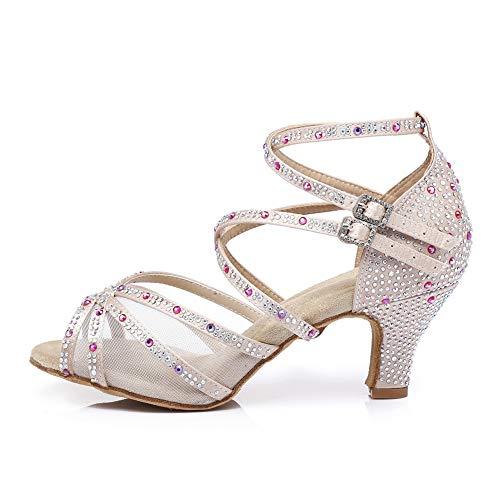 HROYL Zapatos de Baile de Salón Tacon Mujer Fiesta Elegante Zapatos de...
