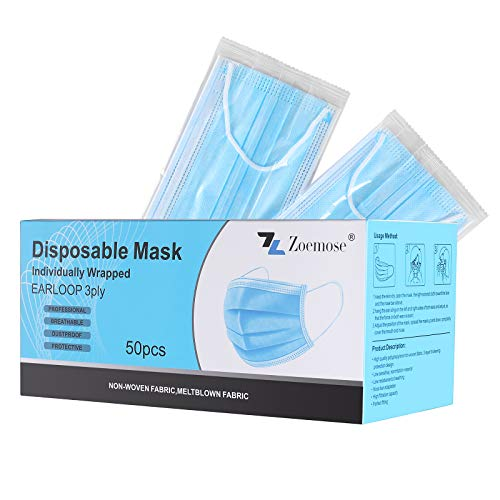 Disposable Face Masks 3-Ply Individually Wrapped for Home, School, Office and Outdoors (50 PCS,Blue)