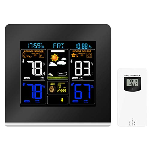 Professionelle Funkwetterstation, automatische Digital-Wetterstation mit Außensensor, Farb-LCD, Risiko Alarm kann 3 Sensoren verbinden