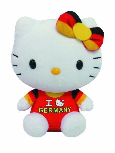 TY 46246 - Exklusive City-Hello Kitty Baby - Germany mit Schleife, Plüsch, 15 cm, schwarz/rot/Gold