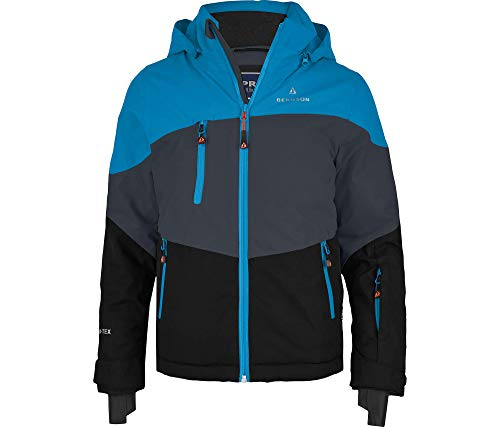 Bergson Forvert Kinder Skijacke Volker neo (Maxi), Ebony/Methyl Blue/Black (949/3, 140 - Kinder