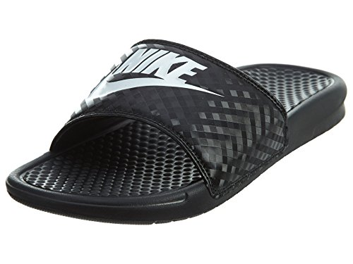 Nike Women's Benassi Just Do It Sandal, Black/White, 10 Regular US