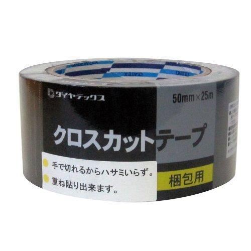 ダイヤテックス クロスカットテープ シュリンク 黒 50mm×25m
