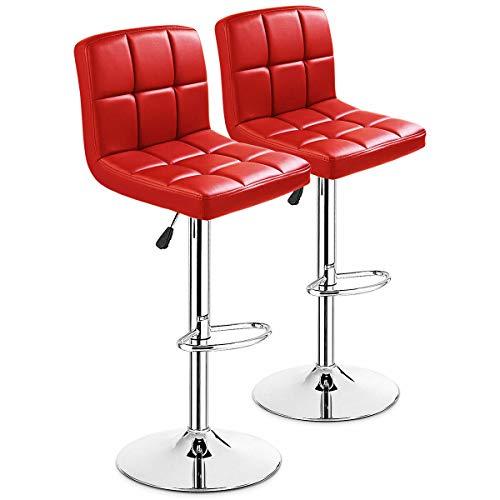 Red Adjustable Bar Stools - 2