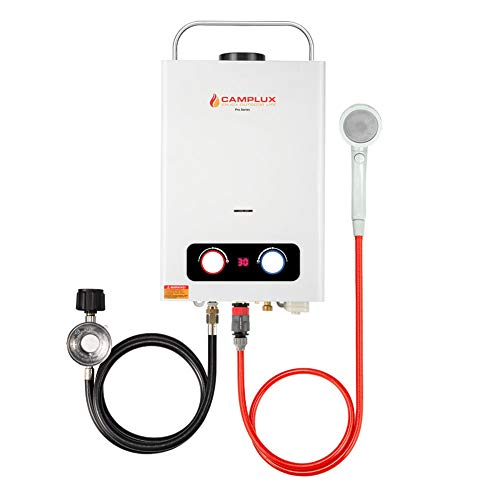 Camplux Pro 1.58 GPM Tankless Propane Water Heater, Outdoor Propane Gas Water Heater with Portable Handle, Portable Gas Water Heater for Camping,Cabins,White