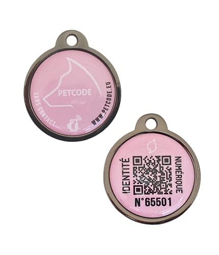PETCODE – Medalla de identificación modelo INKYA rosa 30 mm – Perro – Medalla conectada para collar perro.