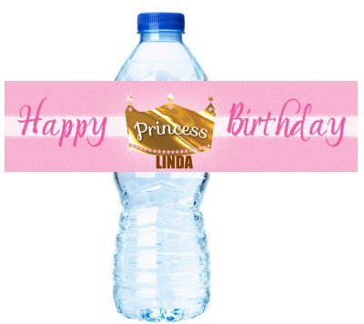 Princess Crown Personalized Birthday Party Decorations - Water Bottle Labels Stickers