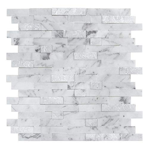 MTO0213 | Peel and Stick Classic Linear Grey White Stone Mosaic Tile