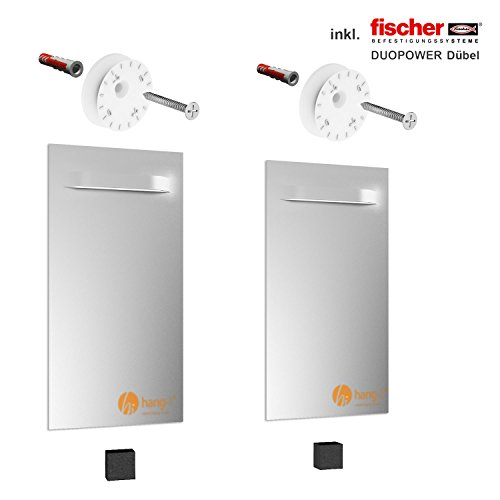 hang-it Premium Spiegel Aufhänger Set L - inkl. 2X 200x100mm Spiegelaufhänger - Spiegelhalter und Exzenterscheiben