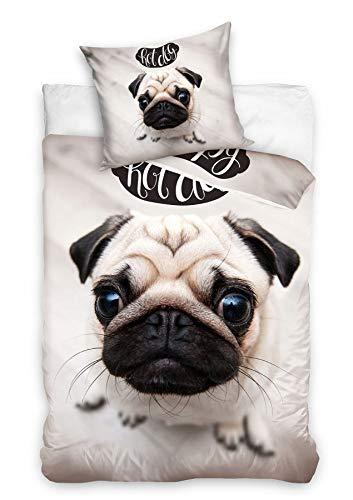 Dog Pug Reversible Duvet Cover Set 100% Cotton 140 x 200 cm + Pillowcase 70 x 90 cm