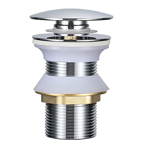 BONADE Accesorios de Baño - Válvula de Desagüe Pop-Up Válvula Desagüe sin Rebosadero para Lavabo Baño, Cobre Cromado (Válvula Lavabo sin Rebosadero)