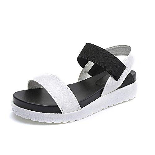 Sandali Donna Bassi con Plateau Estive Pelle Peep Toe Sportivi Scarpe 4cm Negro Blanco Plata 35-40
