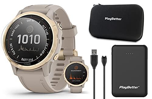 Garmin Fenix 6S Pro Solar Multisport GPS Watch Bundle | with PlayBetter Portable Charger, Screen Protectors & Hard Case | Women's Sports Watch | Smaller-Sized | Light Gold/Light Sand, 010-02409-10