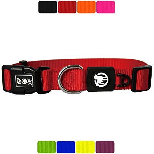 DDOXX Hundehalsband Nylon, verstellbar | viele Farben & Größen | für kleine & große Hunde | Halsband Hund Katze Welpe | Hunde-Halsbänder breit | Katzen-Halsband klein | Rot, XS