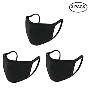 Yoodelife Cotton Mouth Mask Anti Dust Mouth Mask, Unisex Face Mask Reusable Fashion Mask Anime Face Mask Washable Mask Reusable Mask for Cycling Camping Travel for Adults, Black - 3 Pack