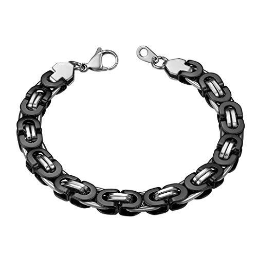ChainsHouse Schwarz Armreif 8mm breit Königskette Armband Edelstahl Herren Armband an jeden Tag