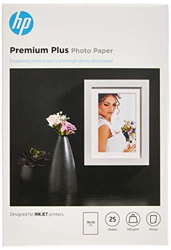 Papier photo HP Premium Plus, brillant, 300g/m2, 10x15cm, 25feuilles