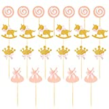 BESTonZON 27pcs Rose Princesse Thème Topper de Gâteau Cupcake Toppers Fournitures Décorations De Gâteau pour La Fête d'anniversaire (Couronne/Sucette/Cheval De Troie/Tissu)