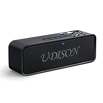 UDISON Portable Bluetooth Speaker, Wireless Stereo Pairing Speakers Superior Sound with 12 Hour Playtime, TWS Bluetooth, Speakerphone, TF Slot, Carabiner for Outdoor Portable Speakers
