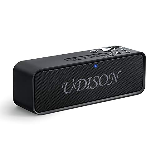 UDISON Portable Bluetooth Speaker, Wireless Louder Speakers V4.2 with Stereo Sound and Bass, Built-in Mic,12 Hour Playtime, IP65 Waterproof, Aux/TF/USB Feature, Black