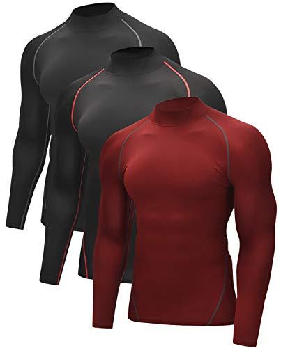 Vogyal Men's Dry Fit Mock Neck Athletic Compression Long Sleeve Baselayer Workout T-Shirts, 3 Pack_Black/Red, Black/Grey, Dark Red, X-Large