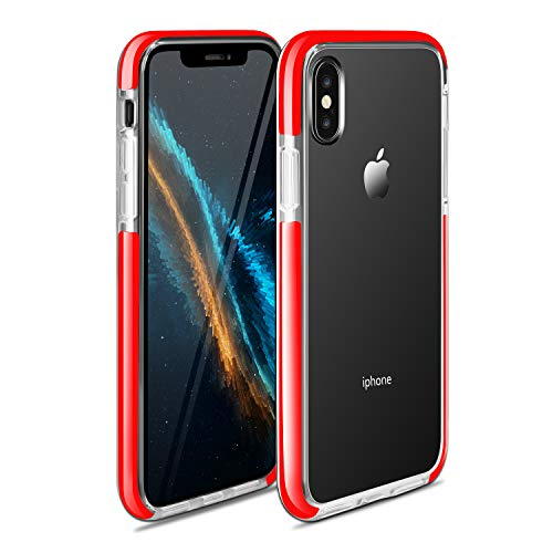 Clear Case for iPhone XR Clear Crystal Shockproof Cell Phone Case with Soft TPU Back, Flexible Bumper Clear Protective Cover Compatible with iPhone XR 6.1 inch (Red)