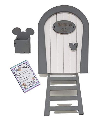 Puerta Ratoncito Pérez blanca de madera,con escalera, buzón y certificado. Producto artesanal hecho en España