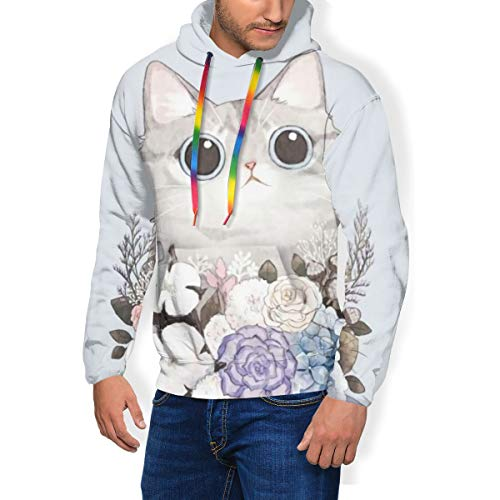 LAOLUCKY Cute Cat Garland Bowknot Mens 3D Hooded Novelty Pullover Sweatshirts with Big Pockets Black