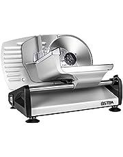 Allessnijder, elektrische allessnijder, roestvrij stalen mes, worstsnijmachine met instelbare snijdikte (0-15 mm) kaassnijmachine, broodsnijmachine, 150 W, zilver, ostba