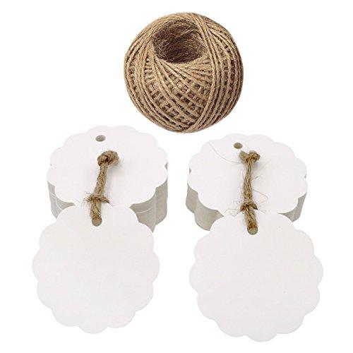100 Stücke Geschenkanhänger, 6 CM Runde Blume Form Hängen Tags Etiketten mit 30 M Jute-Schnur(Weiß)