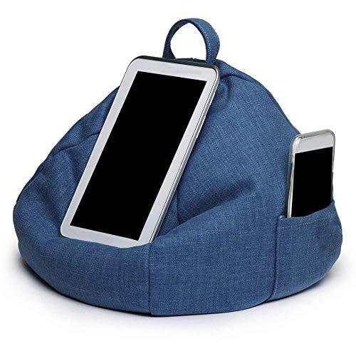 Multifunktions Tragbare Sitzsack Imitation Hanf Auto Kissen Tablet Kissen Lesehalterung Kissenhalter,Blue