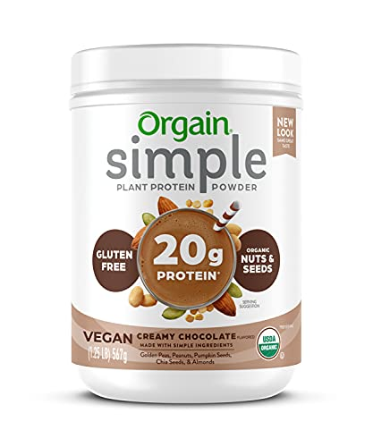 Orgain Simple Organic Plant Protein Powder, Chocolate, Vegan, Made with Fewer Ingredients and Without Dairy, Gluten and Stevia, Kosher, Non-GMO, 1.25 Lb (Packaging May Vary)