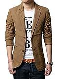 chouyatou Men's Slim 2-Button Single Breasted Cotton Lightweight Blazer Jacket Sport Coat (Medium, Khaki)