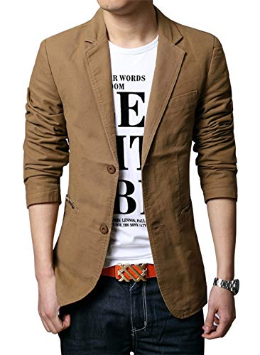 chouyatou Men's Slim 2-Button Single Breasted Cotton Lightweight Blazer Jacket Sport Coat (Medium, Khaki)