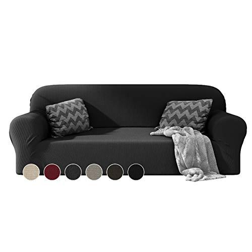 Dreamzie - Sofabezug 3 Sitzer Elastische - Grau - Oeko-TEX® - Sofa Überzug Dehnbarer aus Recycelter Baumwolle - Made in Europe