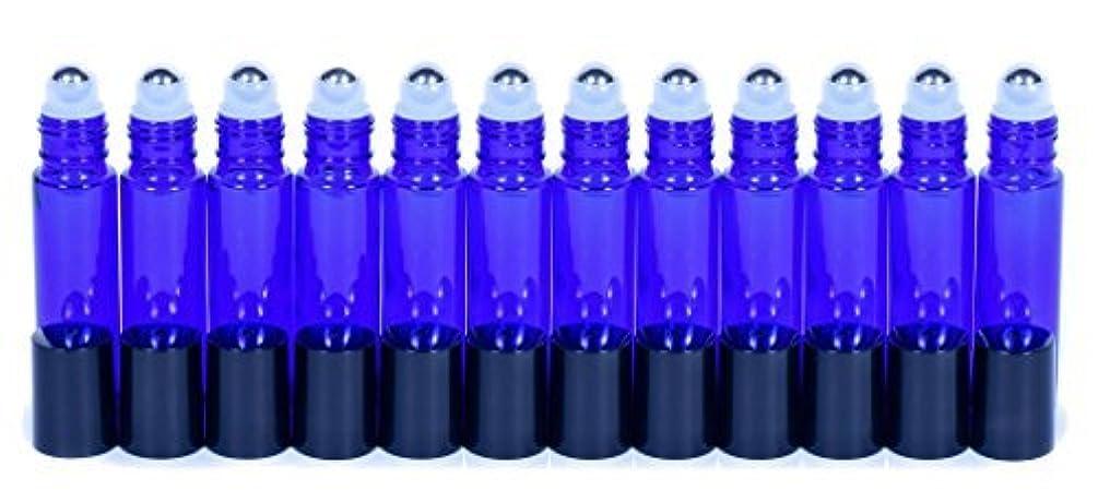 不明瞭正しくチャンピオンCobalt Blue Glass Roller Bottles W/Stainless Steel Balls For Essential Oils (12 Pack, 10ml Size) - Includes 12 Pipettes for Easy Transfer of Essential Oils [並行輸入品]