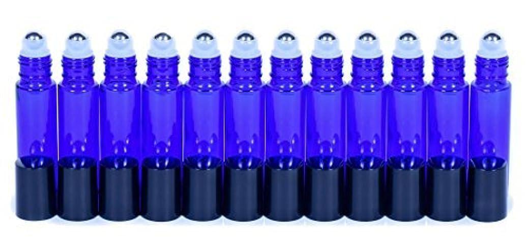 側十一修理可能Cobalt Blue Glass Roller Bottles W/Stainless Steel Balls For Essential Oils (12 Pack, 10ml Size) - Includes 12 Pipettes for Easy Transfer of Essential Oils [並行輸入品]