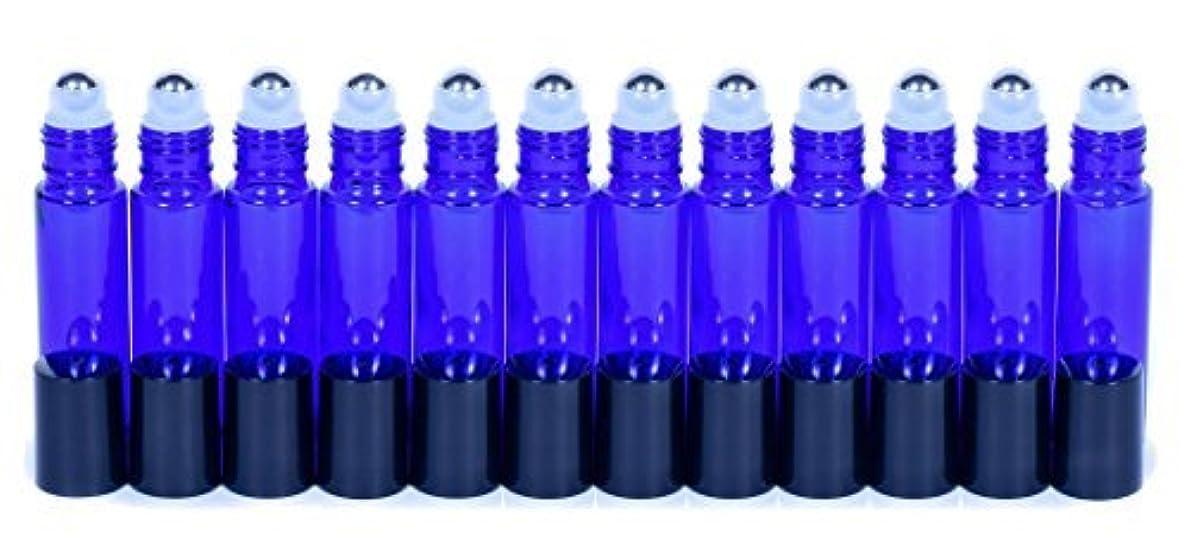 まっすぐ残忍なオーナーCobalt Blue Glass Roller Bottles W/Stainless Steel Balls For Essential Oils (12 Pack, 10ml Size) - Includes 12 Pipettes for Easy Transfer of Essential Oils [並行輸入品]