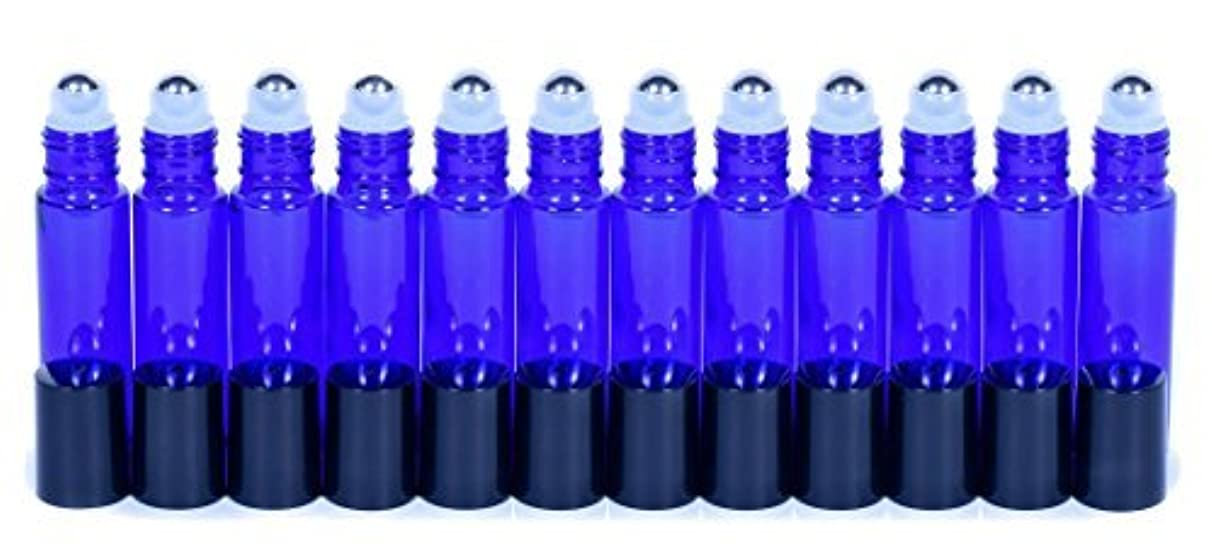 モニカ順応性焦がすCobalt Blue Glass Roller Bottles W/Stainless Steel Balls For Essential Oils (12 Pack, 10ml Size) - Includes 12 Pipettes for Easy Transfer of Essential Oils [並行輸入品]