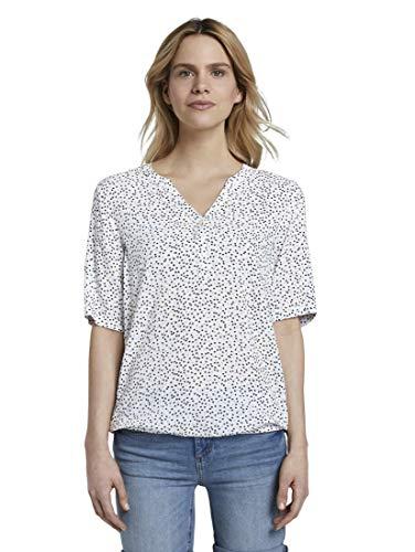 TOM TAILOR Damen Blusen, Shirts & Hemden Henley-Bluse mit elastischem Bund Offwhite Black dot Print,38,23782,2000