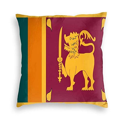 SUN DANCE Funda de cojín decorativa suave con la bandera de Sri Lanka para sofá, coche, cama, 50,8 x 50,8 cm