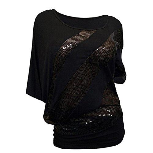 Logobeing Camiseta de Mujer Casquillo con Lentejuelas Top Blusa de Hombro con Espalda Fría Fiesta Camisas Mujer Tallas Grandes