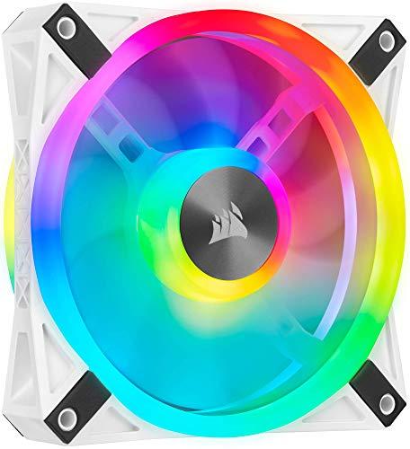 Corsair QL120 RGB Ventola con 34 LED RGB PWM Regolabili, Fino a 1.500 Giri/Min, Silenziosa, Smorzatori in Antivibrazione, iCUE QL 120 mm, Confezione Singola, Bianco/RGB