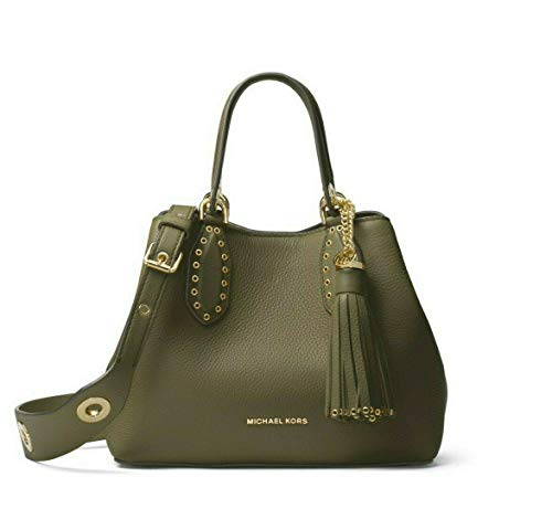 Michael Kors Brooklyn Small Leather Grab Bag Satchel in Olive